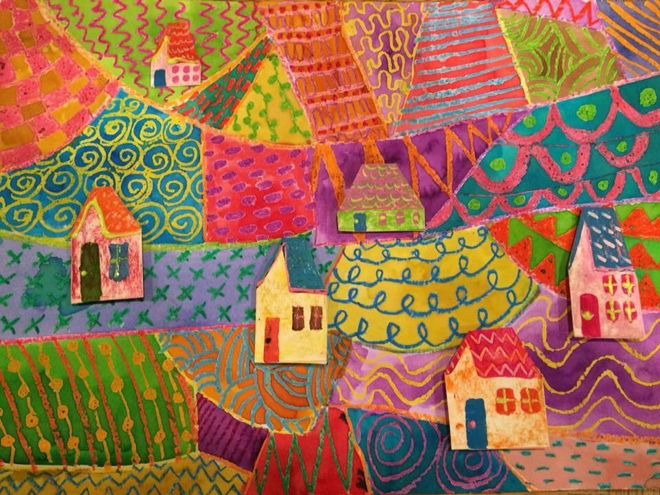Colourful patterned landscape with 3D houses