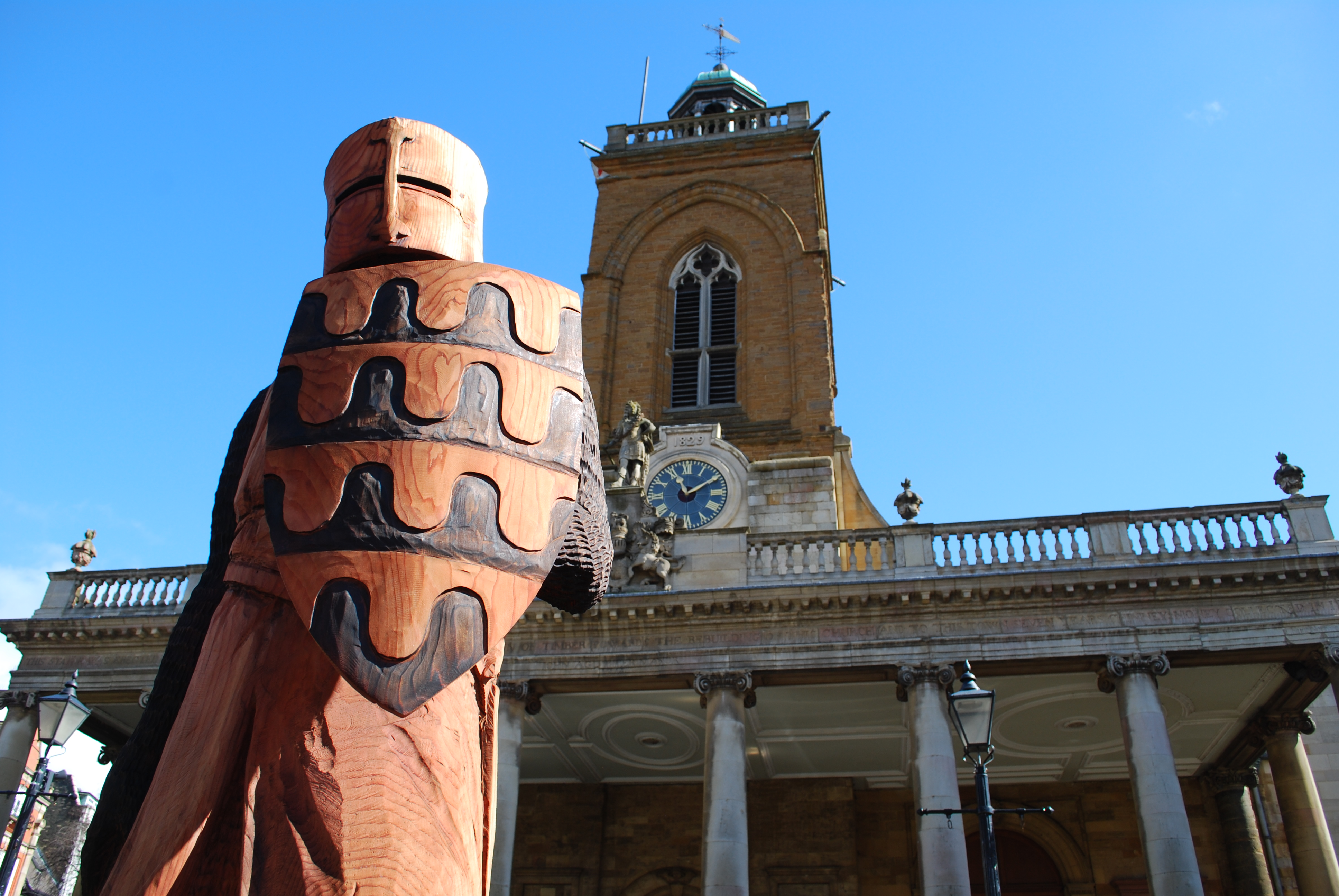 Wooden knight at All Saints in 2015