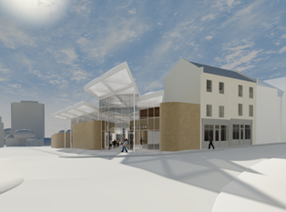 External image of the town's new bus interchange