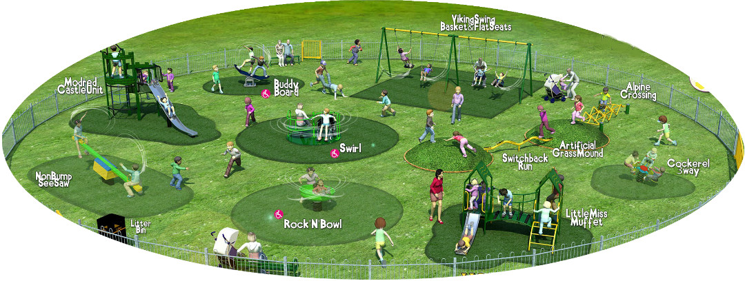 Artist illustration of the new play area at Eastfield Park
