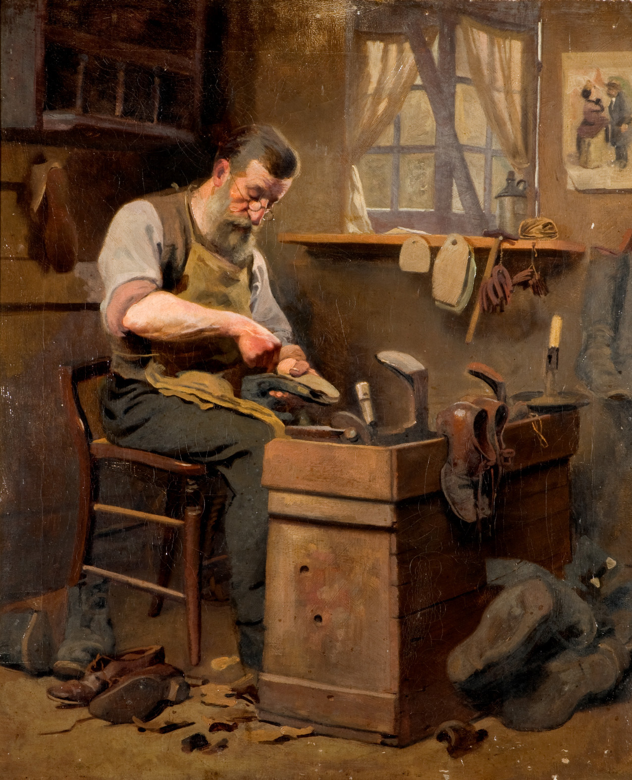 Frederick Hall's oil painting titled Experienced Hands - The art of the shoemaker