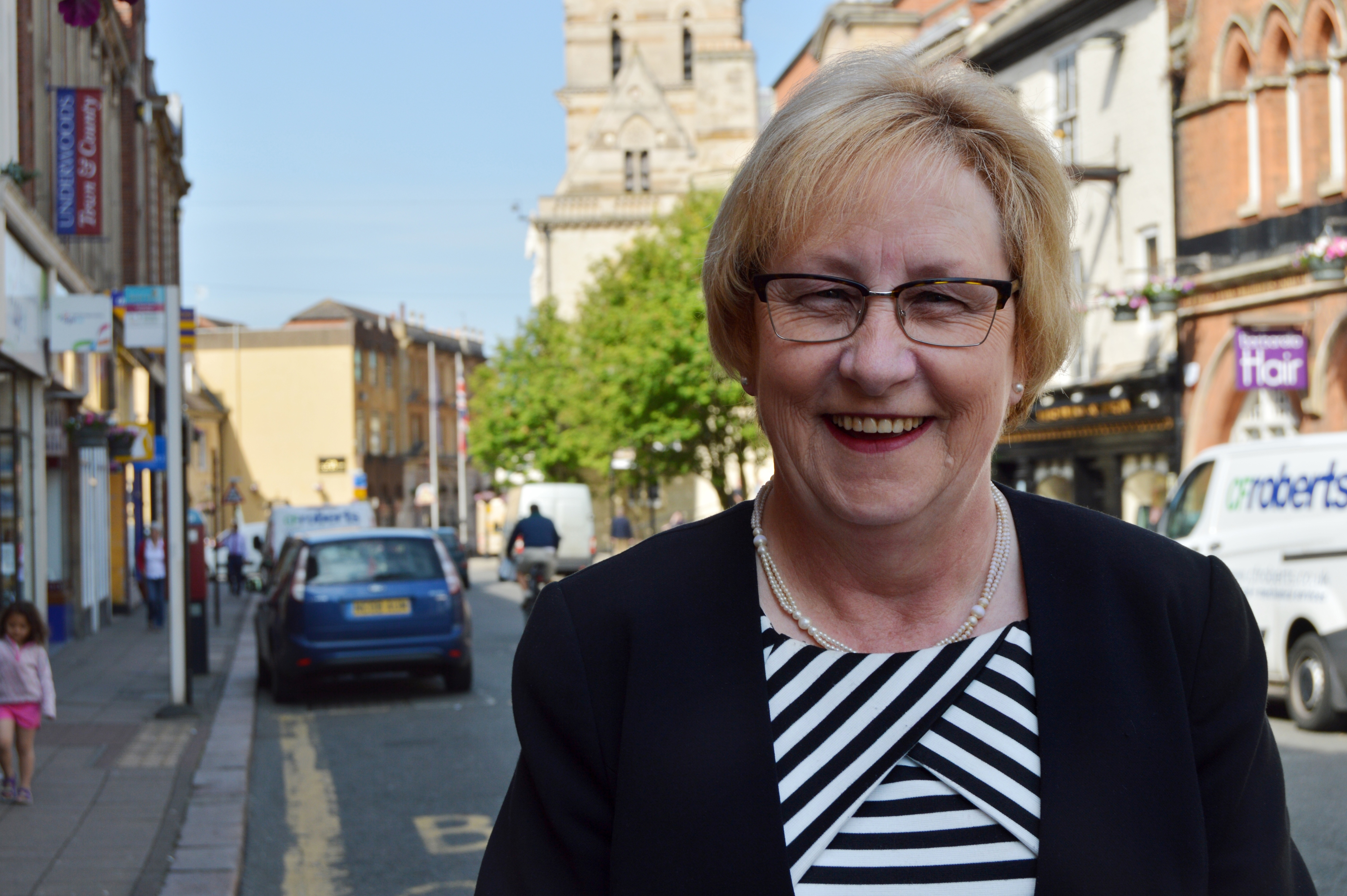 Cllr Mary Markham in St Giles Street
