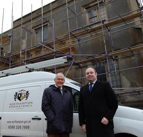 Councillors David Mackintosh and Tim Hadland at Delapre Abbey