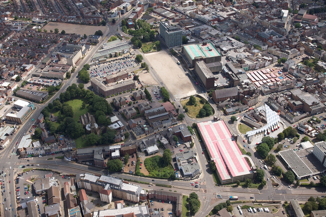 Aerial shot of Greyfriars site
