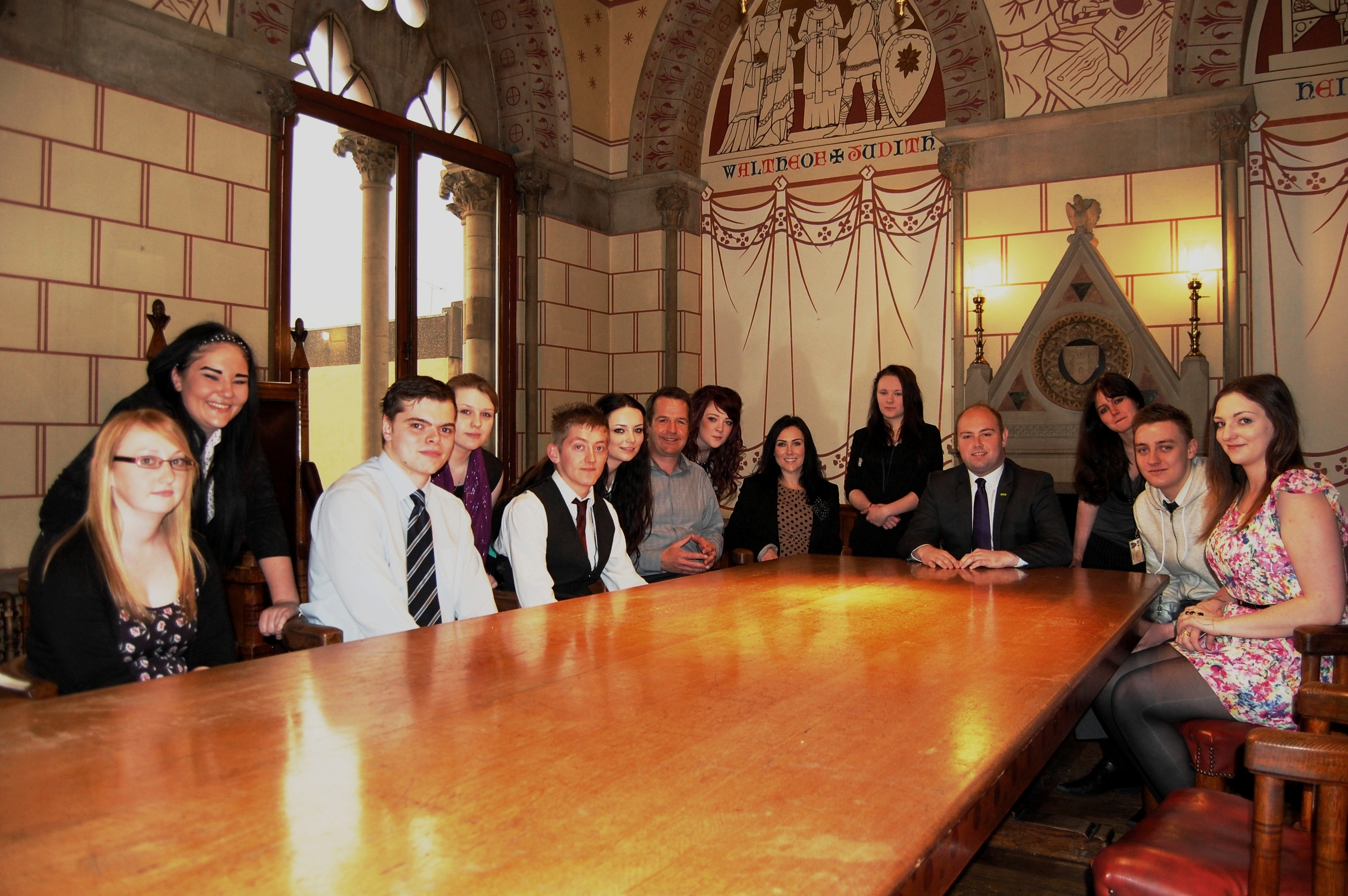 Cllr. David Mackintosh, Dale Willis and Joanna Enright from Starting Off Ltd with the young apprentices.