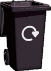 Illustration of black wheelie bin