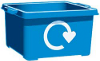 Illustration of a blue recycling box