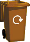 Illustration of brown wheelie bin