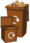 Illustration of food waste bins