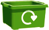 Illustration of a green recycling box