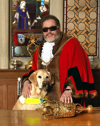 The Mayor Christopher Malpas and his guide dog Verity