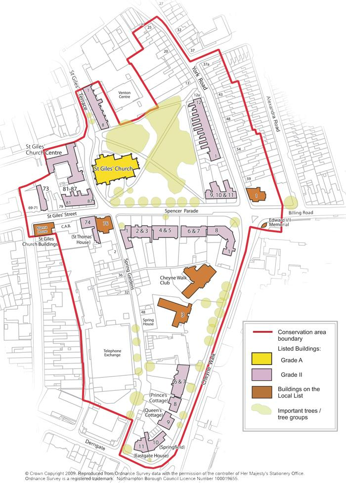 St Giles Conservation Area map